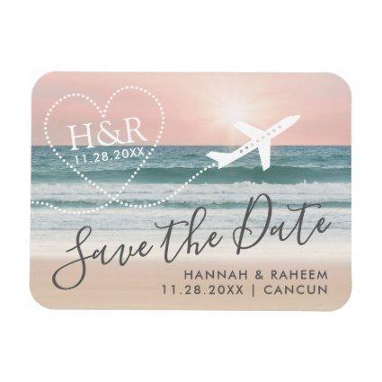 Beach Sunset Airplane Trail Monogram Save the Date Magnet