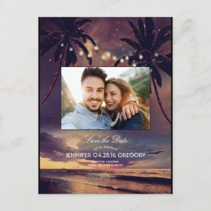 Beach Sunset Palms Lights Photo Save the Date Announcement