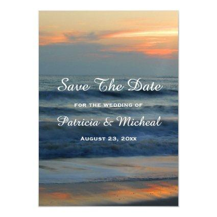 Beach Sunset Save The Date Wedding Announcement