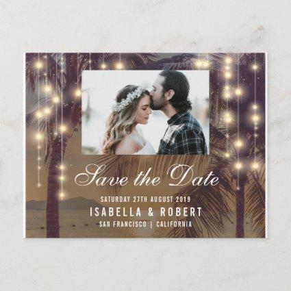 Beach Sunset & String Lights Photo Save The Date Announcement