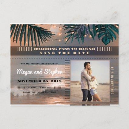 Beach Sunset String Lights Photo Save the Date Announcement