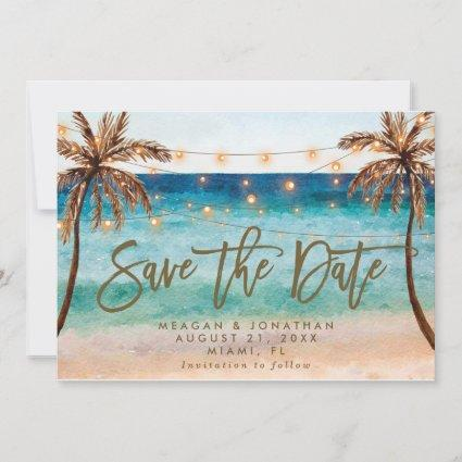 beach tropical palm trees save the date card
