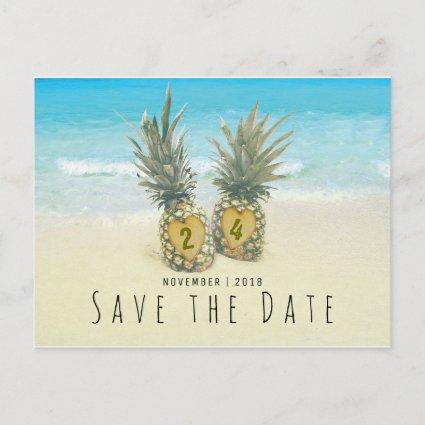 Beach Tropical Pineapple Save the Date Announcement