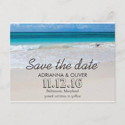 Beach Waves Destination Wedding Save The Date Announcement