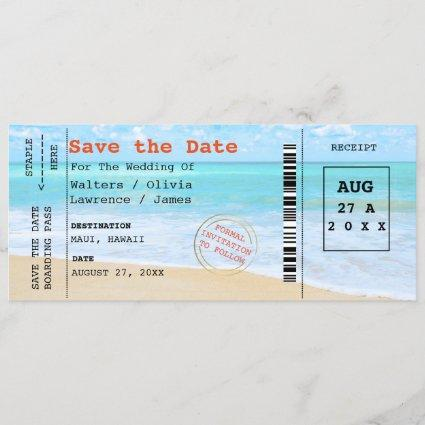 Beach Wedding Boarding Pass Save The Date