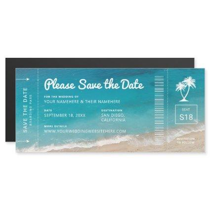 Beach Wedding Boarding Pass Teal Sea Save the Date Magnetic Invitation