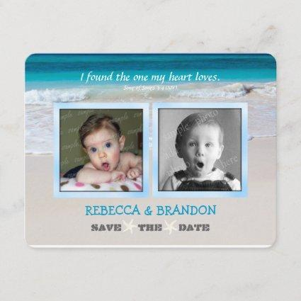 Beach Wedding His and Her Photo Scripture Announce Save The Date