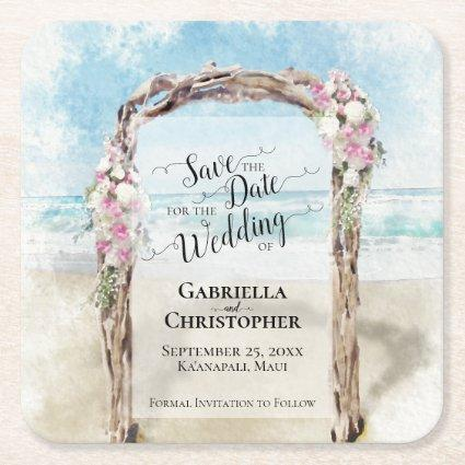 Beach Wedding Save the Date Pastel Watercolor Square Paper Coaster