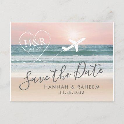 Beach Wedding Sunset Heart Airplane Save the Date Announcement