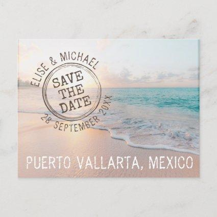 Beach Wedding Sunset Passport Stamp Save the Date Announcement