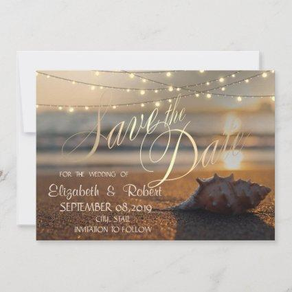 Beach Wedding Sunset Seashell Lights Save The Date