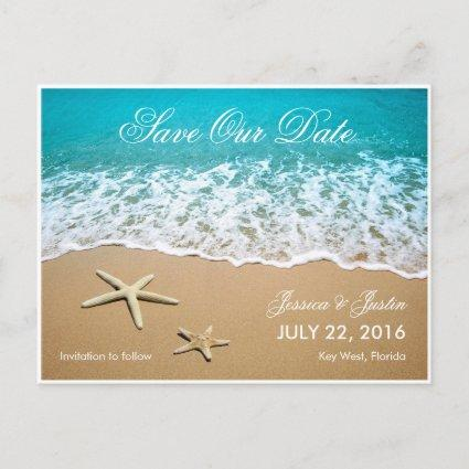 Beach With Starfish Save the Date Cards