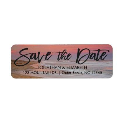 Beautiful Beach Sunset Save The Date Label