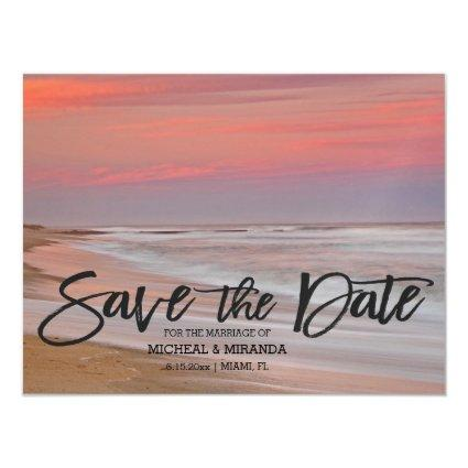 Beautiful Beach Sunset Save The Date Magnetic Invitation
