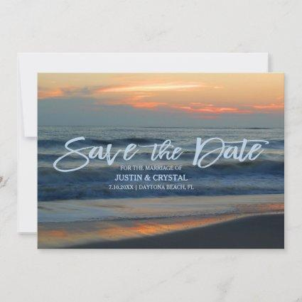 Beautiful Beach Surf Sunset Save The Date