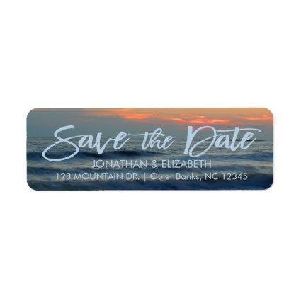 Beautiful Beach Surf Sunset Save The Date Label