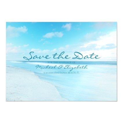 Beautiful Blue Beach Save The Date Magnetic Invitation