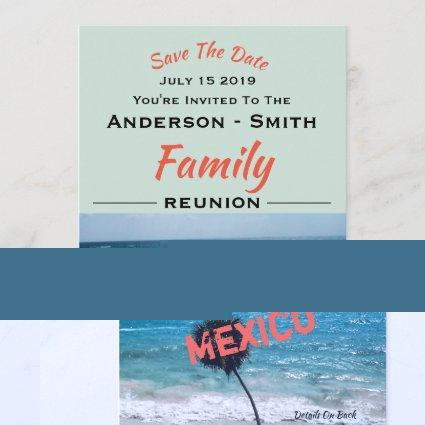 Beautiful Blue Ocean and Beach Any Name Reunion - Save The Date