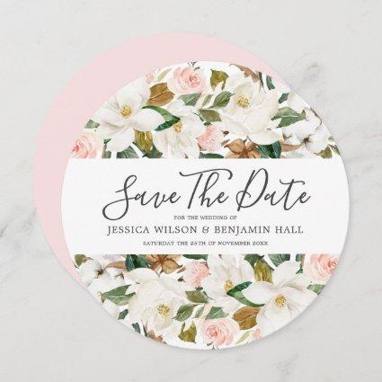 Beautiful Blush & White Watercolor Flowers Wedding Save The Date