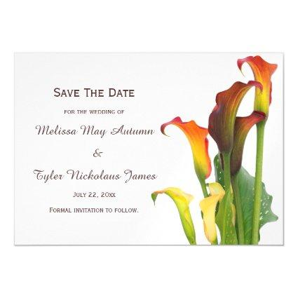 Beautiful Calla Lilly Floral Wedding Save The Date Magnetic Invitation