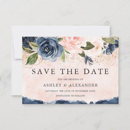 Beautiful Elegant Navy Floral Gold Blush Save The Date