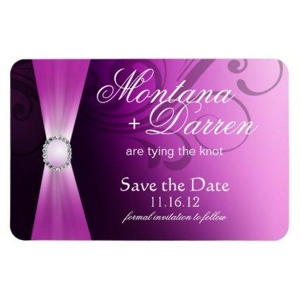 Beautiful Flourish Save the Date Magnet | lilac