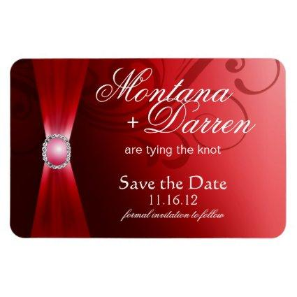 Beautiful Flourish Save the Date Magnet | red