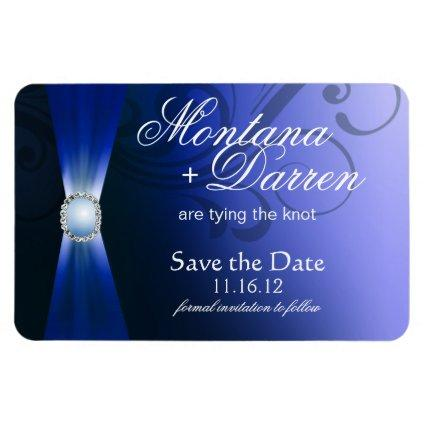 Beautiful Flourish Save the Date Magnet | sapphire