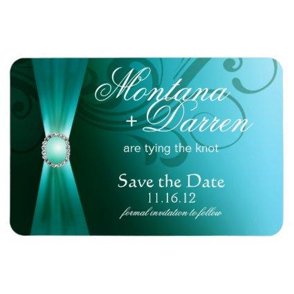 Beautiful Flourish Save the Date Magnets | teal