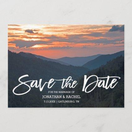 Beautiful Mountain Sunset Wedding Save The Date
