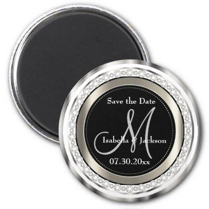 Beautiful Save the Date in Silver & White Diamonds Magnet