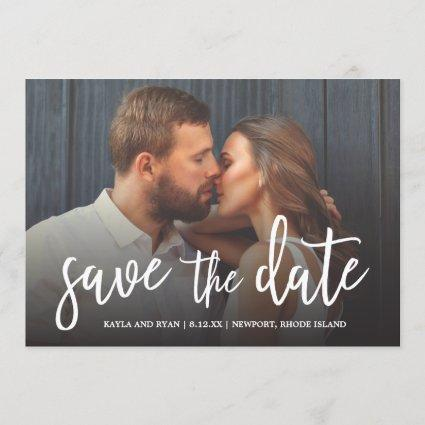 Beautiful Script Full-bleed Photo Save The Date