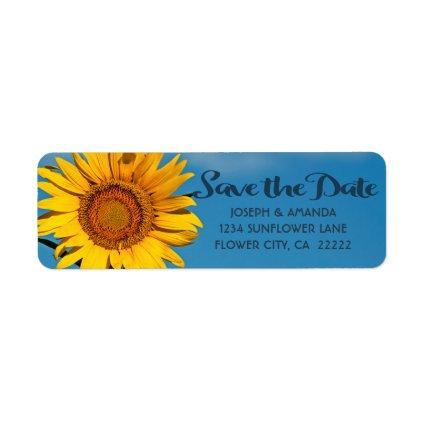 Beautiful Sunflower And Sky Wedding Save The Date Label
