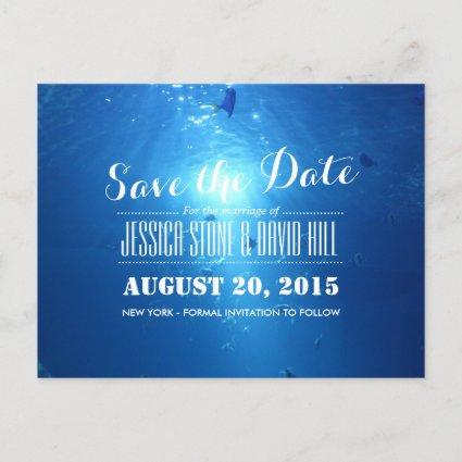 Beautiful Under Sea Blue Wedding Save the Date Announcement