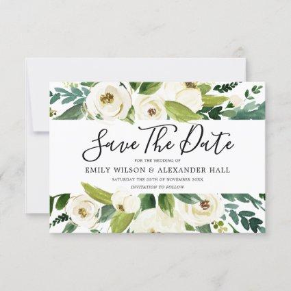 Beautiful White Flowers Greenery Spring Wedding Save The Date