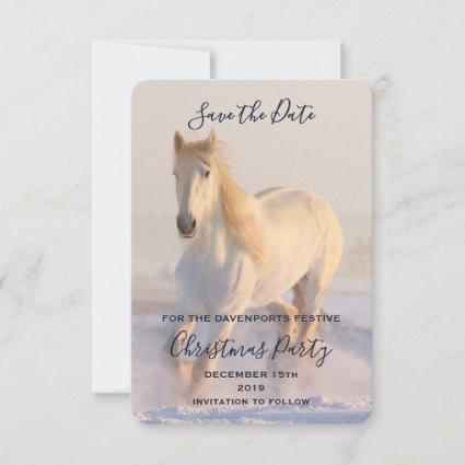 Beautiful White Horse Running in the Snow Save The Date