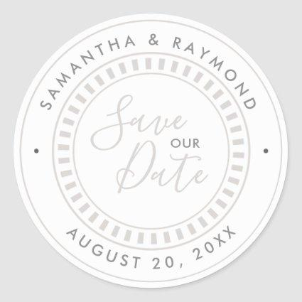 Beige and White Nautical theme Save our Date Classic Round Sticker