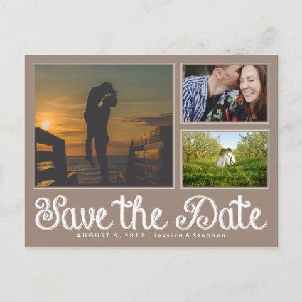 Beige Chalk Save The Date Collage Cards