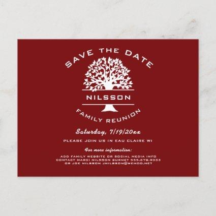 Berry Red Family Tree Reunion Save the Date Announcements