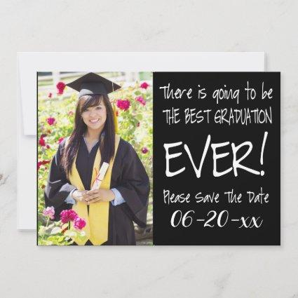 Best Graduation Save The Date  Photo Modern Black