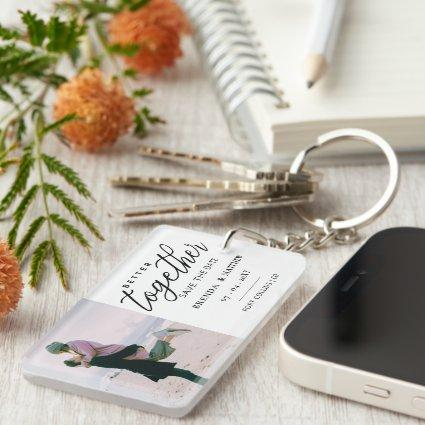 Better Together Photo save The Date Keychain