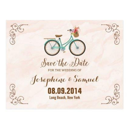 Bicycle Save The Date Announcements Watercolor Cards