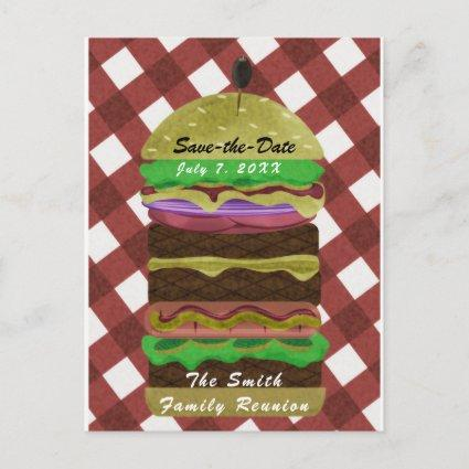 Big Greasy Hamburger Summer Cookout Red BBQ Party Invitation