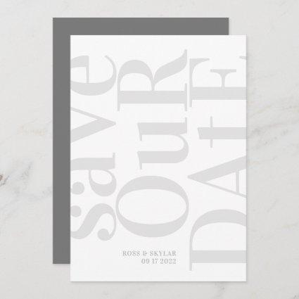 Big Grey Monogram Modern Simple Save The Date