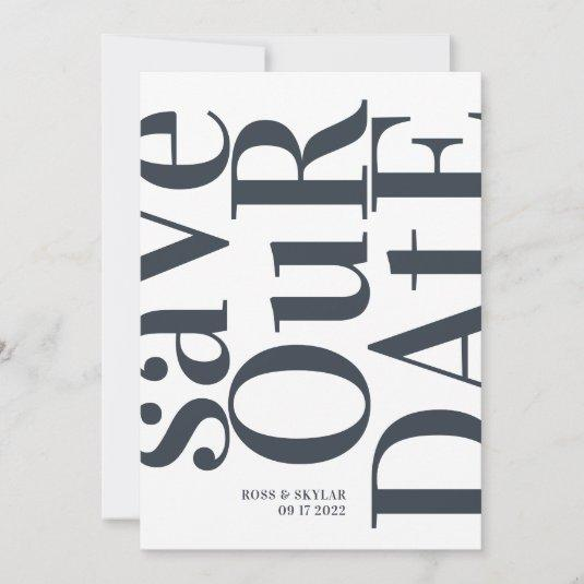 Big Monogram Modern Simple Save The Date