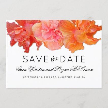 Big Orange Hibiscus Save the Date Announcement