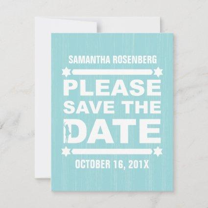 Big Type Bat Mitzvah Save the Date in Light Teal