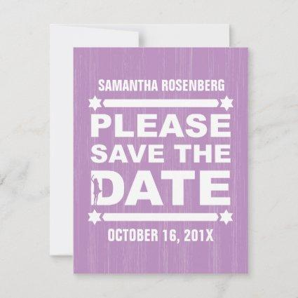 Big Type Bat Mitzvah Save the Date in Purple