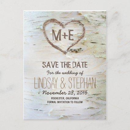 Birch bark rustic save the date Cards