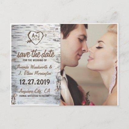 Birch Bark Rustic Tree Wedding Save the Date Cards